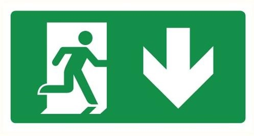 Pictogram DL200 nooduitgang beneden deur links 270x140mm