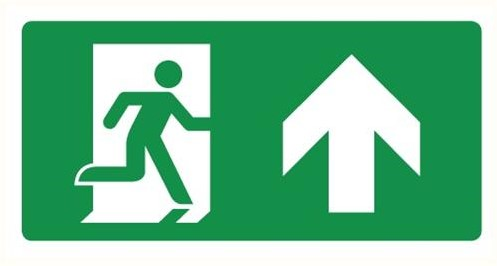 Pictogram DL200 nooduitgang (rechtdoor)deur links 270x140mm