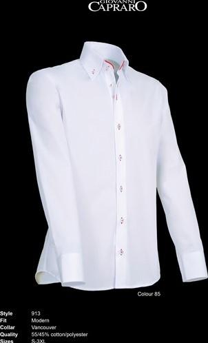 SALE! Giovanni Capraro 913-85 Heren Overhemd - Wit [Rood accent] - Maat XL