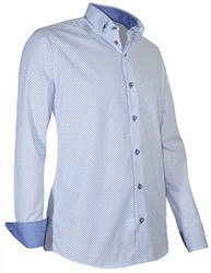 Giovanni Capraro 937-38 Overhemd - Wit [Donker Blauw accent]