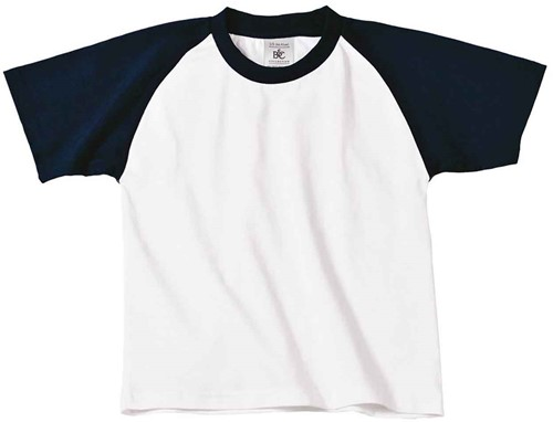 B&C Base-Ball kids T-shirt-Wit / Navy-12/14