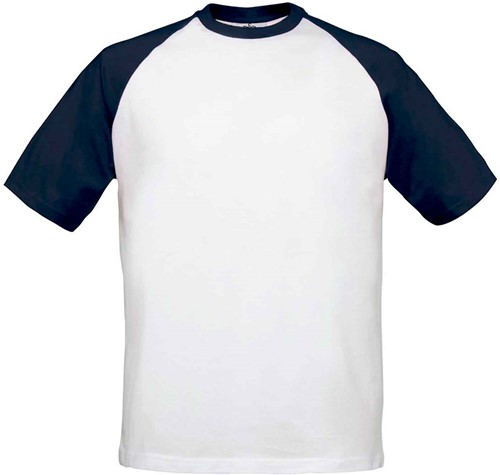 B&C Base-Ball T-shirt-S-Wit / Navy