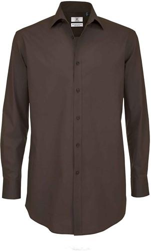 B&C BCSMP21 Black Tie Long Sleeve Heren Overhemd-S-Coffee Bean