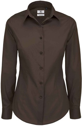 B&C Black Tie LSL Dames Blouse-XS-Coffee Bean