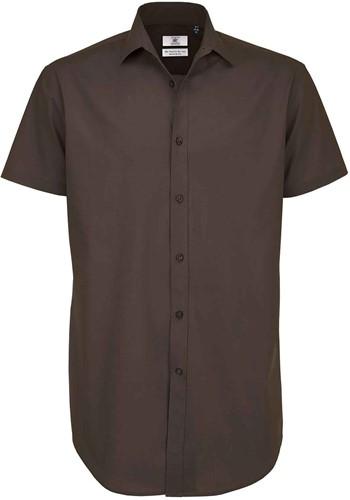 B&C BCSMP22 Black Tie Short Sleeve Heren Overhemd-S-Coffee Bean