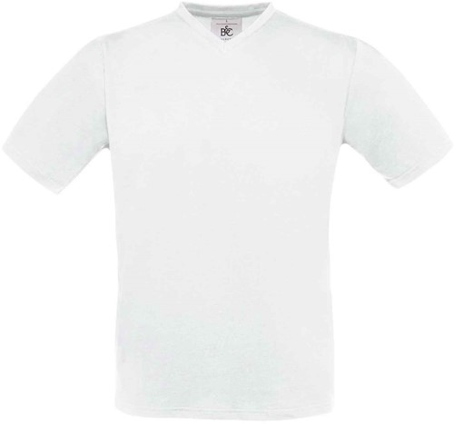 B&C Exact V-Neck T-shirt-Wit-S