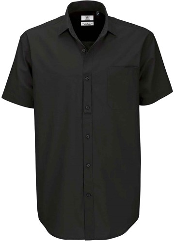 B&C Heritage SSL Heren Overhemd-Zwart-S
