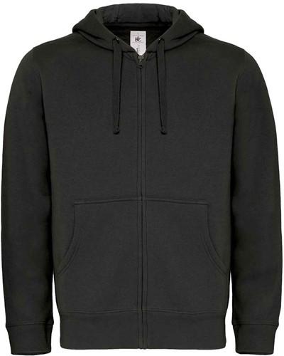 B&C Hooded Full Zip Heren Sweater-Zwart-S