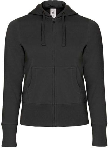 B&C Hooded Full Zip Dames Sweater-Zwart-XS