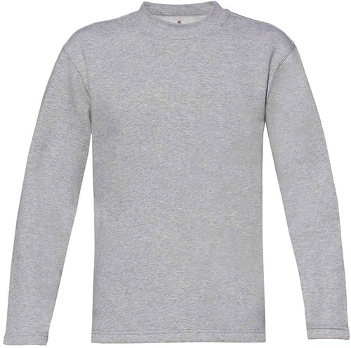B&C Open Hem Sweater-S-Heather Grijs