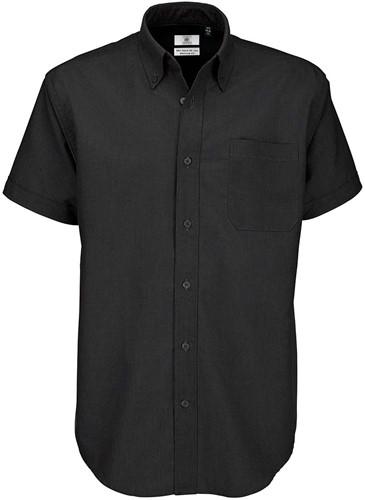 B&C Oxford SSL Heren Overhemd-Zwart-S