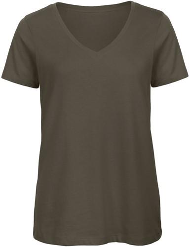 B&C TW045 V Dames T-shirt - Khaki - XS-Khaki-XS