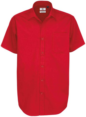 B&C BCSMT82 Sharp Short Sleeve Heren Overhemd-S-Diep Rood