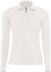 OUTLET! B&C Safran Pure LSL Dames Polo - Wit - Maat XL