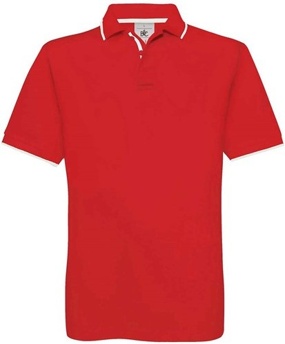 OUTLET! B&C Safran Sport Polo - Rood / Wit - Maat L