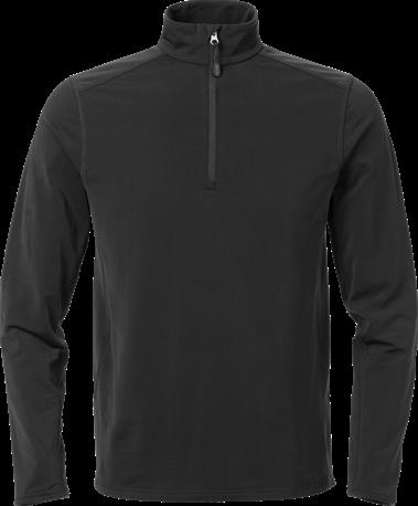 Acode Heren superstretch sweatshirt met korte rits-Zwart-S
