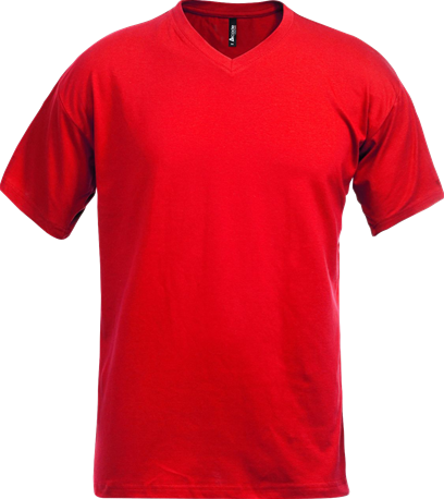 Acode T-shirt met V-hals-Rood-S