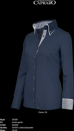 SALE! Giovanni Capraro 29309-39 Blouse - Navy [Blauw accent] - Maat 44