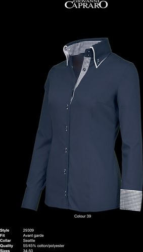 SALE! Giovanni Capraro 29309-39 Blouse - Navy [Blauw accent] - Maat 46
