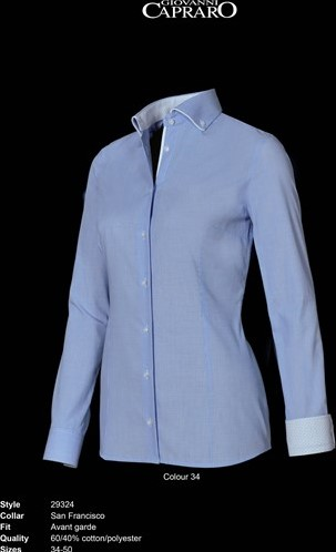 OUTLET! Giovanni Capraro 29324-34 Blouse - Licht Blauw (Wit accent) - Maat 42