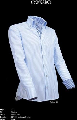 OUTLET! Giovanni Capraro 902-31 Overhemd - Licht Blauw gestreept (Blauw accent) - Maat XXL