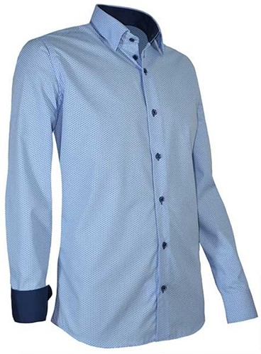 SALE! Giovanni Capraro 939-32 Heren Overhemd Licht Blauw [Navy accent] - Maat L