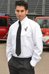 Heren Pilot shirt + V teken - LM Wit