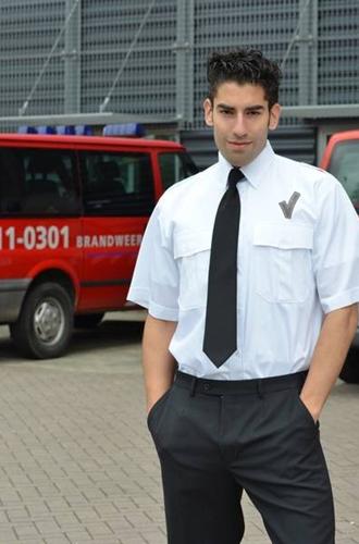 OUTLET! Heren Pilot shirt + V teken LM - Wit - Maat 39/40