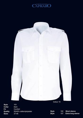 SALE! Giovanni Capraro 102-10 Pilot Overhemd Korte Mouwen - Wit - Maat 42